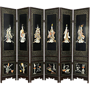 Chinese 6 Panel Carved Jade & Stone Vintage Lacquer Screen, 6 Musicians