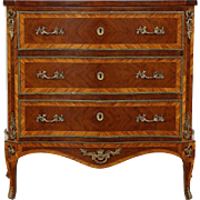 French Antique Rosewood Marquetry 1920's Chest or Commode, Brass Mounts