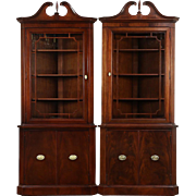 Pair of Traditional Georgian 1950 Vintage Mahogany Corner Cabinets or Cupboards