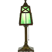 Arts & Crafts Mission Antique 1900 Desk Lamp, Stained Glass Shade
