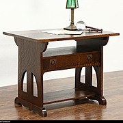 Arts & Crafts Mission Oak Antique 1905 Library Table, Map Desk, TV Console