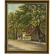 Thatched Cottage in Denmark, 1915 Signed Original Oil Painting on Canvas