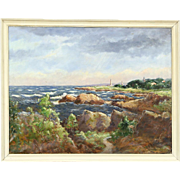 Ocean Shore & Village Oil Painting, Signed 1959, Denmark