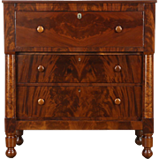 Empire 1830's Antique Butler Desk & Chest, Cherry & Mahogany