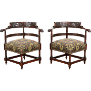 Pair Carved Mahogany Antique 1890 Corner Chairs, New Upholstery