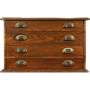 Oak 1890 Antique Spool Cabinet, Jewelry or Collector Chest, 4 Drawers