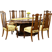 Romweber Louis XV de Gaulle 7 Pc Vintage Dining Set, Table, 4 Leaves & 6 Chairs