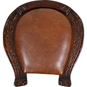 Victorian 1885 Antique Lucky Horseshoe Shaped Footstool, Leather Upholstery