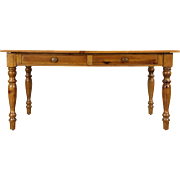Country Pine Farmhouse Vintage Harvest Dining Table, 2 Drawers