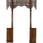 Oak Architectural Salvage Doorway, 1890 Antique Archway, Fretwork & Columns