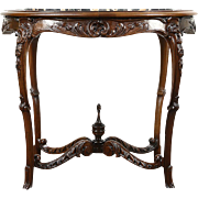 Carved 1920's Antique Walnut Lamp or End Table, Black Italian Marble