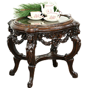 Walnut 1920's Antique Coffee or Chairside Table, Glass Tray, Carved Figures