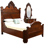 Victorian Queen Size Carved Mahogany 2 Pc. Antique 1875 Bedroom Set