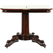 Empire 1825 Antique Console Table, Opens to Game Table, Paw Feet