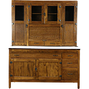 Hoosier Oak Kitchen Pantry Cupboard, Roll Top, 1915 Antique Cabinet, Enamel Top