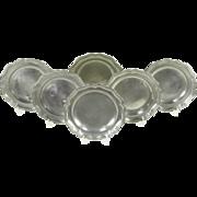Set of 6 Antique Scalloped Pewter Plates, Angel Hallmark