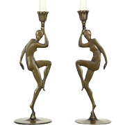 Pair 1930's Bronze Nude Dancer Vintage Candlesticks