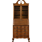 Traditional 1950 Vintage Secretary Desk, Bookcase Top, Secret Compartments