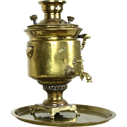 Russian Brass Antique 1900 Teakettle Samovar, Czarist Stamps