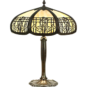Stained Glass Panel Lamp, 1915 Antique Filigree Shade