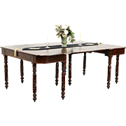 Empire 1820's Antique Pair Acanthus Carved Mahogany Console Tables, Dining Table