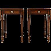 Pair of Mahogany Vintage Regency Dropleaf End Tables or Nightstands