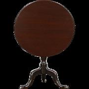 Tea or Lamp Table, Antique 1870's English Mahogany Oval Tilt top