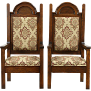 Pair 1900 Antique Oak Hall or Throne Chairs, New Upholstery, Exorcist TV Props
