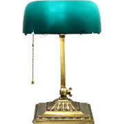 Emeralite Emerald Green Glass 1917 Pat. Antique Brass Banker Desk or Piano Lamp