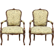 Pair French Style Carved Fruitwood Chairs, New Upholstery