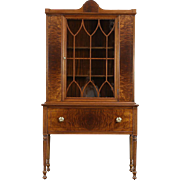 Walnut & Burl 1940's Vintage China or Display Cabinet