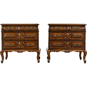 Pair Country French Fruitwood Vintage End Tables or Nightstands, Small Chests