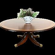 Georgian Design 6' Round Vintage Dining Table, Satinwood & Ebony Banding