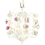 Wrought Iron Vintage Hand Painted Hall Lantern Light Fixture