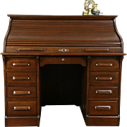 Oak 1900 Antique Roll Top Desk, 15 Drawers
