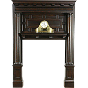 Oak 1895 Architectural Salvage Antique Renaissance Fireplace Mantel & Surround