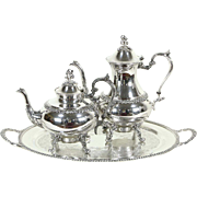 Avon 3 Pc Silverplate Tea & Coffee Set by Rogers with Tray