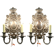 Pair 1920 Antique Cherub Sconce Lights, Smokey Mirror, Signed Sterling Bronze NY