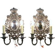 Pair 1920 Cherub Sconce Lights, Signed Sterling Bronze, NY, Polished Mirror