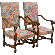 Pair of French Hand Carved Vintage Chairs with Arms