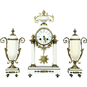 French Marble Antique Mantel Clock Set, Signed Astra