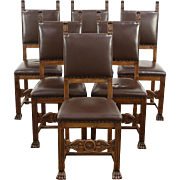 Italian Renaissance 1900 Antique Set of 6 Dining Chairs, Leather Upholstery