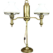 Victorian Antique Double Oil Desk Lamp, Milk Glass Shades, Electrified
