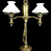 Victorian Antique Double Oil Desk Lamp, Milk Glass Shades, Electrified