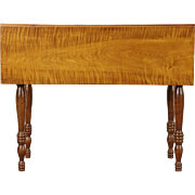 Tiger or Curly Maple Antique 1840 Dropleaf Breakfast or Sofa Table, New England