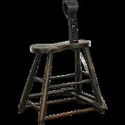 Harness or Horse Saddle Maker, Antique Saddler Leather Work Bench