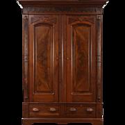 Victorian Renaissance Antique 1880's Walnut Armoire, Closet or Wardrobe
