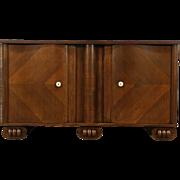 Art Deco Oak Vintage Scandinavian Sideboard or TV Console Cabinet