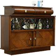 Art Deco Oak Vintage Scandinavian Sideboard, Bar Cabinet, Etched Glass Doors
