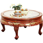 Chinese Lacquer Round Coffee Table, Pearl & Jade Birds Inlay